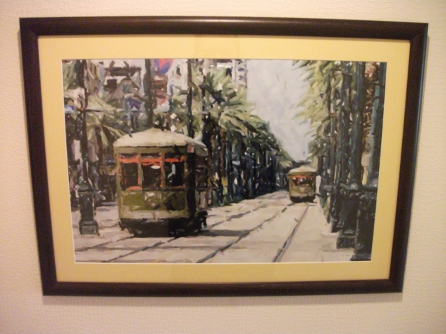 A print of the French Quarter in New Orleans.