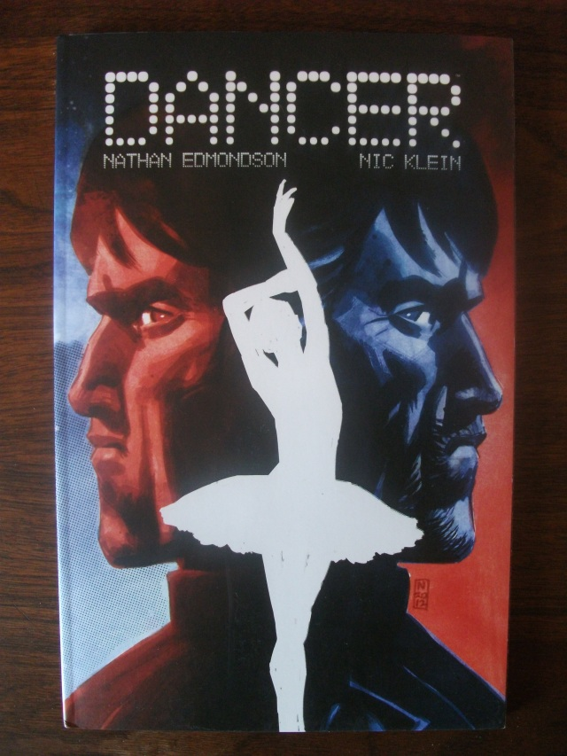"Dancer. From the Image Comics description: ""The story of a retired assassin who must protect his ballerina love from a sniper stalking them both through the back alleys of a wintry Europe."""