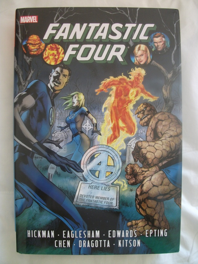 "Fantastic Four by Jonathan Hickman Omnibus Volume 1. ""It all begins when Mr. Fantastic decides to solve everything! As the team contends with Dark Reign, an older Franklin arrives from the future with an ominous warning! And as the Fantastic Four fight the War of the Four Cities, Mr. Fantastic assembles a band of genius youngsters. But when Nathaniel Richards returns, Galactus rises and an all-new Annihilation Wave threatens to invade from the Negative Zone, tragedy suddenly strikes. Grieving, the survivors of the Fantastic Four dissolve the team...but from its ashes rises the Future Foundation!"""